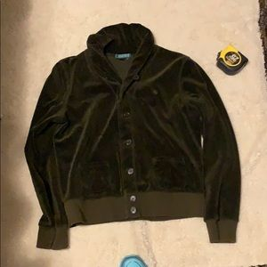 Ralph Lauren velvet soft shirt/cardigan. DK green.